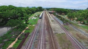 Aerial view Lamphun Train Station. Lamphun Province Thailand stock footage