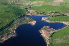 Aerial view of a land. And a lake Royalty Free Stock Images