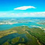 Aerial view of land & water Stock Image