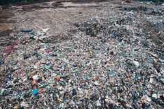 Aerial view of landfill. Waste, consumerism and contamination concept Royalty Free Stock Photo