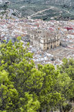 Aerial view landmark of renaissance Cathedral of Jaen. Aerial view landmark of renaissance Cathedral of Asuncion, from XVI century, public monument in Jaen city royalty free stock photo