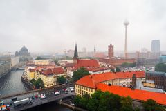 Aerial view of landmarks in Berlin, Germany during rainy day Royalty Free Stock Photo