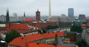 Aerial view of landmarks in Berlin, Germany. Berlin, Germany. Aerial view of landmarks in Berlin, Germany during rainy day. Empty roads, various car at the stock video footage