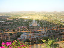 Aerial view of landscape against clear sky. Taken on sunny day from temple building in rajasthan Stock Image