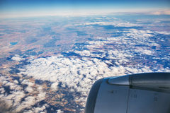 Aerial view of landscape from airplane near Madrid Royalty Free Stock Photography