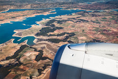 Aerial view of landscape from airplane near Madrid Stock Photo