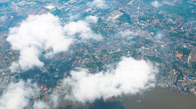 Aerial view landscape of Bangkok city in Thailand with cloud Royalty Free Stock Images