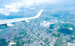 Aerial view landscape of Bangkok city in Thailand with cloud Stock Photo