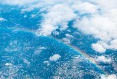 Aerial view landscape of Bangkok city in Thailand with cloud Stock Images