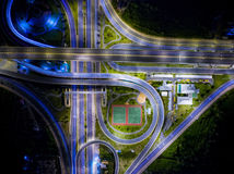 Aerial view of landscape beautiful night road. Interchange Highway traffic beautiful at Night Royalty Free Stock Photography