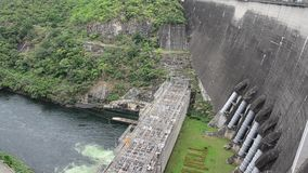 Aerial view and landscape of Bhumibol Dam in Tak, Thailand stock video footage