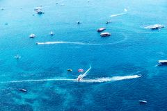Landscape of boats on the blue sea. Aerial view of landscape of boats on the blue sea Royalty Free Stock Image