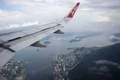 Aerial view landscape and cityscape of HongKong island from airbus flying royalty free stock photography