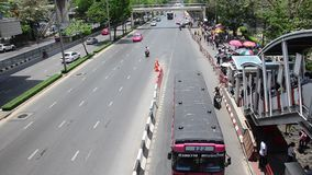 Aerial view of Landscape and cityscape with people walking and traffic at Chatuchak Market. BANGKOK, THAILAND - APRIL 15 : Aerial view of Landscape and cityscape stock video