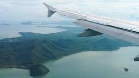 Aerial view landscape from descending airplane stock video footage