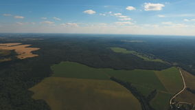 Aerial View.Landscape of the forest, field, sky. stock video footage