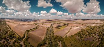 Aerial view of a landscape by good weather in Andalucia stock image