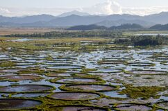 Aerial view and landscape of loktak lake manipur