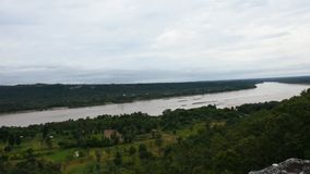 Aerial view landscape Mekong river from cliffs above the Mekong at Pha Taem National Park. In Ubon Ratchathani, Thailand stock video