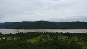 Aerial view landscape Mekong river from cliffs at Pha Taem National Park in Ubon Ratchathani, Thailand. Aerial view landscape Mekong river from cliffs above the stock video footage
