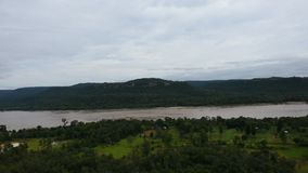 Aerial view landscape Mekong river from cliffs at Pha Taem National Park in Ubon Ratchathani, Thailand. Aerial view landscape Mekong river from cliffs above the stock video