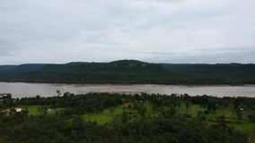Aerial view landscape Mekong river from cliffs at Pha Taem National Park in Ubon Ratchathani, Thailand. Aerial view landscape Mekong river from cliffs above the stock footage