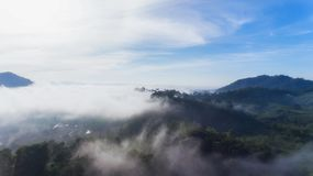 Aerial view of morning fog Royalty Free Stock Photo