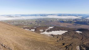 Aerial View. Landscape mountains. Panorama grass and snow in the mountains. stock video footage
