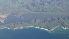 Aerial view of the landscape near Tomales Bay, Inverness. California stock video footage