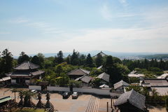 Aerial view of landscape and rooftops, Nigatsudo, Nara, Japan Stock Images