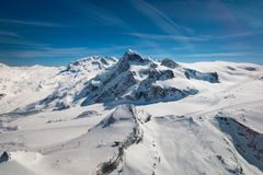 Aerial view of landscape in the ski region of Zermatt and Breuil-Cervinia royalty free stock image