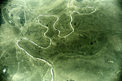 Aerial view of landscape in South Sudan. Between the cities of Wau and Abyei Stock Photography