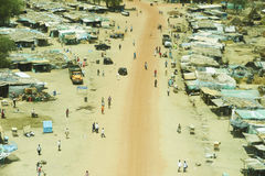 Aerial view of landscape in South Sudan. The outskirts of the city Wau in central South Sudan Stock Image