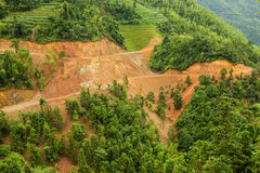 Aerial view of landslide in china Stock Photography