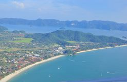 Aerial view of Langkawi Island Malaysia. The aerial view of the cape and bay of a tropical island ( that is the Langkawi Island ) of Malaysia Royalty Free Stock Photos