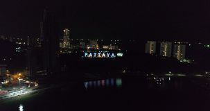 Aerial view of lanscape and Pattaya City sign stock video