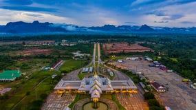 Aerial view Laos immigration, Thailand Laos border inspection, Thakhek, Khammouane, Laos royalty free stock photo