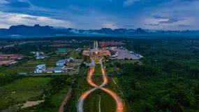 Aerial view Laos immigration, Thailand Laos border inspection, Thakhek, Khammouane, Laos royalty free stock photos