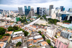 Aerial view of the Lapa Arches and the Cathedral in Rio de Janeiro, Brazil Stock Images