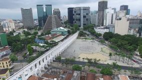 Aerial view of the Lapa Archs in Rio de Janeiro, Brazil.  stock video footage