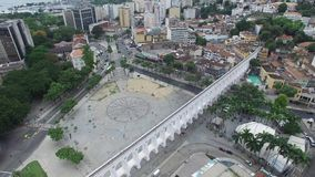 Aerial view of the Lapa Archs in Rio de Janeiro, Brazil.  stock video