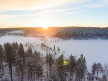 Aerial view of a Lapland winter landscape royalty free stock photography