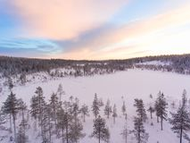 Aerial view of a Lapland winter landscape royalty free stock images