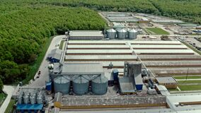 Aerial view of large animal pig farm on the natural background. Midle shot