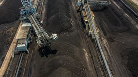 Aerial view large bucket wheel excavators in a lignite mine.  stock images