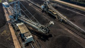 Aerial view large bucket wheel excavators in a lignite mine.  royalty free stock photos