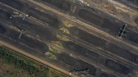 Aerial view large bucket wheel excavators in a lignite mine.  stock photos