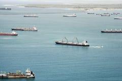 Aerial view of large cardo ships waiting at Gatun Lake Royalty Free Stock Photography