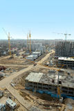 Aerial view of a large construction site. Bird view of large construction area of a new residential complex Royalty Free Stock Photography
