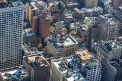 Aerial View of Large Grey Buildings Stock Photo